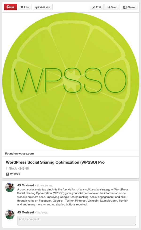 Pinterest Product Pin Example for WPSSO