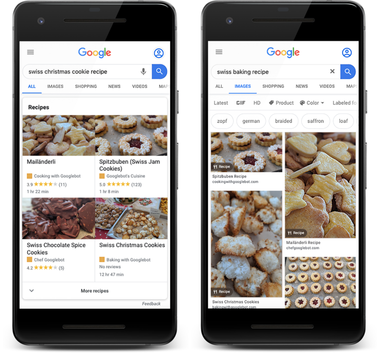 Google Rich Results for Schema Recipe Markup